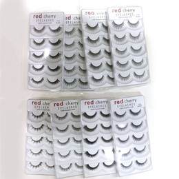 Wholesale Big False Eye Lashes - Red Cherry 3D False eyelashes 5 pairs pack 8 Styles Natural Long Professional makeup Big eyes High Quality