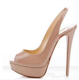 Wholesale black platform slingback - Luxury Brand Red Bottom High Heels,Nude Black Patent Leather Peep-toes Sandals,Slingback 14cm High Heel Shoes Back Strap Platform Pumps