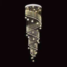 Cristais de escada em espiral on-line-Lustre de Cristal moderno Espiral Design de Luxo Escada de Cristal Luminárias de Teto Para Sala de Jantar Iluminação Interior