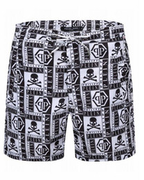 Wholesale Jeans Skulls - 2018 New Arrival Top quality Men Embroidery Skull Beach pants Man Skinny Trousers Fashion Casual Short jeans 1501