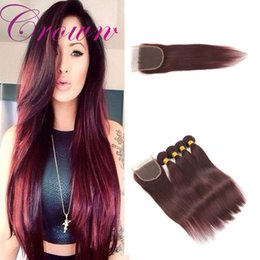 Wholesale Free Hair Dyes - Brazilian Straight Virgin Hair With Lace Closure Red Weave And Closure 4 Bundles With 5pcClosure 99j Straight Weave Human Hair Free Shipping