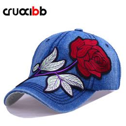 cappelli di jeans Sconti CRUOXIBB moda donna berretto da baseball ricamo  rosa rossa cappello osso snapback 8fce1dcc678f