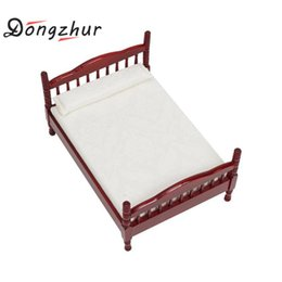 Wholesale wood bedroom furniture - Dongzhur Dollhouse Miniatures 1:12 Accessories Mini Bed Toy Doll House Bedroom Furniture Mahogany Double Bed Wooden Toy House