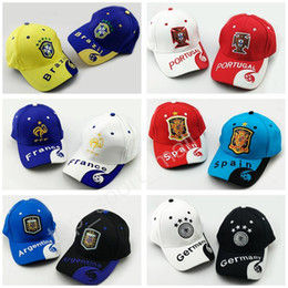 Wholesale Fall Hats - 2018 World Cup Football Caps Snapback Brazil Brasil Argentina Portugal England Spain France Germany Soccer Hats National Team Fans Souvenirs