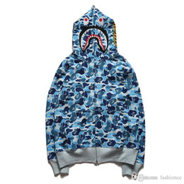 Animali da camuffamento online-Felpe con cappuccio Shark Hooded da uomo Logo Animalager Felpe con cappuccio e cardigan mimetico animale blu Felpe con cappuccio skateboard blu verde rosa