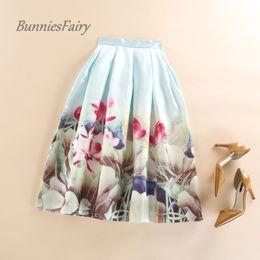 Wholesale Mori Plus Size - BunniesFairy Brand 2017 Autumn Mori Girl Style New Ladies Lotus Flower Floral Print Pleated Skirts Knee Length XXXL Plus Size