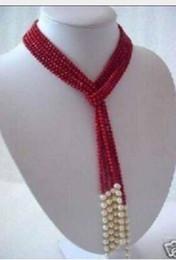 """Collar blanco del encanto del coral online-Envío gratis @@@@@ A5MM Encantador collar de bufanda de perlas blancas de coral rojo 50 """"a"""