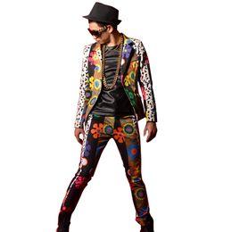 Wholesale Flower Dancers - Colorful Flower Printing Splice Men Slim Fit Casual Suit Jacket Blazers Coat Male Dancer Singer DJ Fashion Stage Costumes Custom