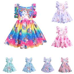 Baby girls rainbow unicorn dress children Backless Flying sleeve princess dresses cartoon summer Boutique kids Clothes C5583