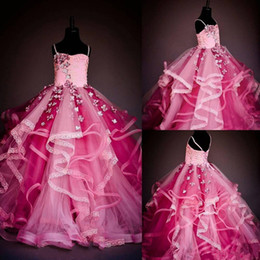 Wholesale Tulle Fluffy Flower Girl Dresses - Stylish Flower Girls Dresses Petal Beads Lace Applique Girls Pageant Dress Fluffy Skirt Ball Gown Lace-Up Birthday Dresses