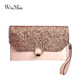 2209d2573343 new design luxury Women s day clutches bling bling sequins envelope evening  party hand bag chain prom weeding pink grey black