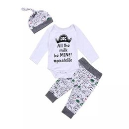 Wholesale Child Pirate Costumes - Newborn Baby Boys Clothing Toddler T-shirt+Pants+Hat 3PCS set Skull Heads Pirate Outfit Infant Boutique Casual Kids Costume Children Pajamas