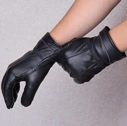 Wholesale Male Genuine Leather Gloves - Autumn and winter men's genuine leather gloves male plus velvet plus size sheepskin gloves winter driving size 5XL