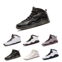 1d48fedf24 2018 Verão Novo 10 10 s Mens Sapatos de Basquete 10 Azul Pó Fresco Cinza  Aço Chicago Bobcats preto branco Esportes Sapatilhas Sapatos