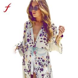 39e410aa0707a Women Summer Blouse 2017 Fashion Floral Printed Half Sleeve Casual Beach  Boho Kimono Cardigan Long Blusas Chiffon Tops Cover Up