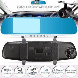 "Wholesale Rearview Screen - 2Ch 1080P full HD 4.3"" dual lens car DVR vehicle video recorder mirror dashcam 170° night vision G-sensor parking monitor screen saver"