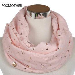 FOXMOTHER 2017 New Beige Glitter rosa metallizzato Foil Print Star Moon Sun Infinity Sciarpa anello scialle per le donne cheap pink infinity scarfs da sciarpe infinite rosa fornitori