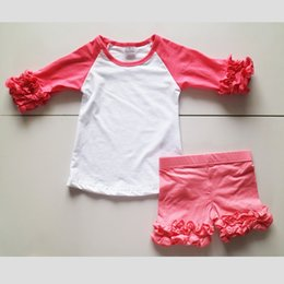 Wholesale Custom Leggings - Custom Made Toddler Baby Girl 2 Pieces Suit Hot Pink Icing Ruffle Raglan Shirts Short Leggings