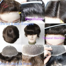 Wholesale Hair Replacements - Lumeng Men Wigs 100% Human Hair All Transparent Swiss Lace Hair Replacement System Men's Toupee