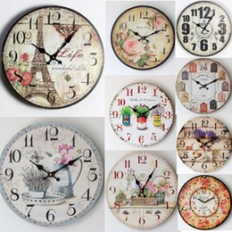 Wholesale Choice Decor - Antique Vintage Rustic Wood Wall Clock On The Wall For Home Decor Large Clock Different Styles For Your Choice