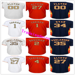 Wholesale Houston S - Mens Womens Youth 35 Justin Verlander 2 Alex Bregman 27 Jose Altuve 1 Carlos Correa George Springer Champions Gold Houston Baseball Jerseys