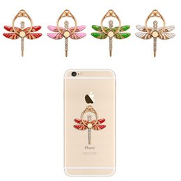 Wholesale Diamond Mounts - Dragonfly Diamond Cell Phone Holders 360 Degree Rotate Finger Ring Phone Stand Universal Multifunctional Folding Mobile Phone Mount