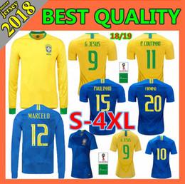 Wholesale 4xl size women - Top quality 2018 soccer jerseys men women 2018 2019 World cup COUTINHO MARCELO FIRMINO P.COUTINHO G.JESUS football shirt Size S-4XL
