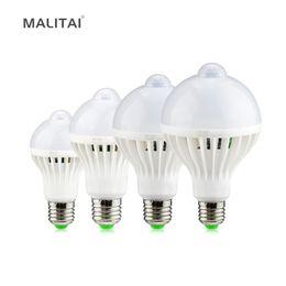 Wholesale Ir Sensor Bulb - Motion Sensor IR Induction LED Bulb lamp 220V E27 5W 7W 9W 12W Smart LED Night light For Corridor Aisle Stairs Balcony lighting