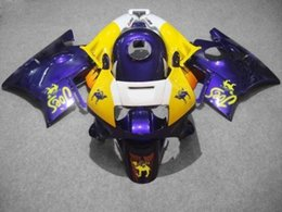 Wholesale Cbr Custom Fairings - Custom Fairing kit for CBR600F2 91 92 93 94 CBR 600F2 CBR600 1991 1992 1993 1994 ABS Purple yellow Fairings set+7gifts HJ15