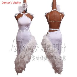 22d7c8adf5 feather costumes for dancing Coupons - Women Latin Dance Dress High Grade White  Feather Diamond Irregular