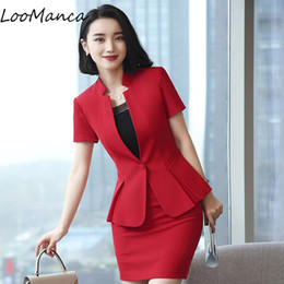 99859b0993e9 Fashion temperament women skirt suit 2018 New Eleformal short sleeve ruffle  blazer and skirt office ladies plus size