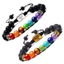 2019 vie d'arbre pendentif tibétain Bracelet en argent tibétain fait à la main pendentif arbre de vie 7 perles de Chakra Reiki prière de Bouddha Pierre naturelle Bracelets de Yoga bracelet énergie de lave vie d'arbre pendentif tibétain pas cher
