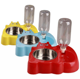 Wholesale box dispenser - 6 Colors Complete sets of automatic feeding drinking Dispenser Food Stand Hamster Feeder Dish Bowl Bottle With Box Packaging EEA368 30PCS