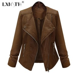 plus size pu motorcycle jacket Australia - 5XL Pu Leather Jacket Coat Slim Women Leather Jacket Motorcycle Zipper Long Sleeve Woman Spring Faux Jackets Plus Sizes