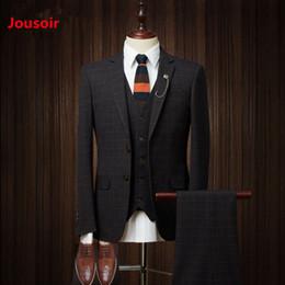 8d81751cd5cf47 Herren Anzug Plaid Modern Fit 3-teilig Anzug Center Vent Blazer Jacke Tux  Weste TrousersCD5