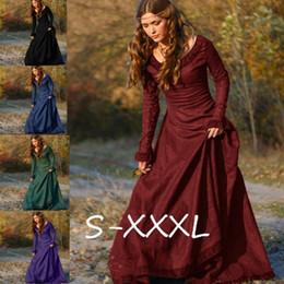 Wholesale Medieval Dresses Costumes - Woman's Renaissance Medieval Gothic Long Dresses for Halloween Ball Gowns Costumes Gothic Evening Dresses Plus Size