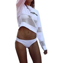 Malla sudaderas online-Chica de encaje Mujer de manga larga jerseys cortos Sudaderas con capucha Nueva Casual Crop Tops Sexy Malla Patchwork Sudaderas Punk Streetwear