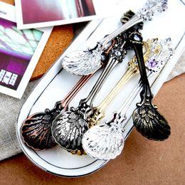 Wholesale Vintage Ice Cream Spoons - 2018 Vintage Alloy Coffee Spoon Crown Palace Carved Dining & Bar Tableware Small Tea Ice Cream Sugar Cake Dessert Dinnerware Spoons Scoop
