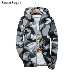 Wholesale Camouflage Jacket Hood - SMARTSUGAR Fashion Camouflage Men's Jacket 100% Polyester Fiber Hood Sweat Breathable Anti-static Light Waterproof Jacket Male