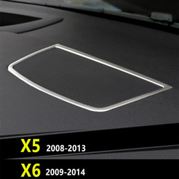 297ef49821f9 Console Audio Loudspeaker Frame Decorative Stainless Steel Car Accessories  Cover Trim Strip For BMW X5 E70 X6 E71