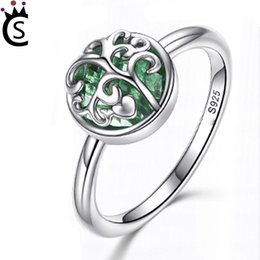 Wholesale real silver finger ring - Real 925 Sterling Silver Tree of Life Finger Ring Crystal Leaf Rings For Women Sterling Silver Fine Jewelry S925