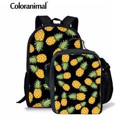 2020 bolsas de fruta de piña Coloranimal 3D Fruit Print Niños School Backpack Pineapple Schoolbag Primary Student Bagpack 3PCS Set bandolera ortopédica bolsas de fruta de piña baratos
