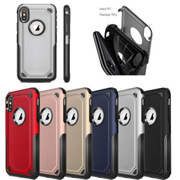Wholesale Plastic Coverings - 2 in 1 Matte Shell Frosted Hybrid Armor Case Slim Shockproof Back Cover For iPhone X 8 7 6S Plus Samsung S7 edge S8 S9 Plus Note 8