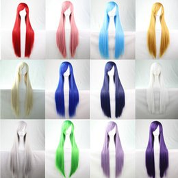 Wholesale Blonde Men Wigs - WoodFestival long straight wig Pink Silver Black Blue Brown Red Yellow White Blonde Purple cosplay wig fiber hair wigs with bangs 40pcs guan