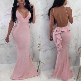 2019 vestidos de noche rosa estirada 2018 Pink Deep V-cuello vestidos de noche largos sin respaldo Stretch Satén Prom Vestidos vestidos de noche formales vestidos Robe de soirée vestidos de noche rosa estirada baratos