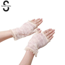 Women's Semi-finger Gloves Spring Summer Anti-uv Lace Gloves Lady's Driving Female Lace Glove Sun Protection PSF1083 cheap ladies sun gloves da guanti da sole donna fornitori