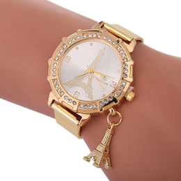 Wholesale Women Watches Style - 2018 mixed styles women mesh alloy metal watch fashion ladies casual eiffel tower leaf owl butterfly pattern quartz watches