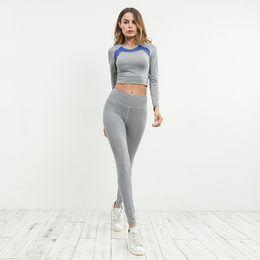 Wholesale Dropship Clothing Women - Gray 2 Piece Yoga Women Set Clothing Summer Gym Tracksuit Sport Underwear Women Set Clothes Crop Top And Leggings Dropship