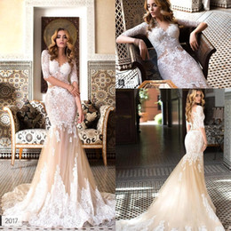 Wholesale Sexy Nude Color Dresses - 2018 Champagne Nude Mermaid Wedding Dresses V Neck Full Lace Long Sleeves Backless Bridal Gowns With Chapel Train BA7745