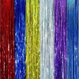 Wholesale Tinsel Wholesale - 5pcs lot 1Meter Gold Foil Fringe Tinsel Curtain Tassel Garlands Wedding Photography Backdrop Birthday Party Decoration